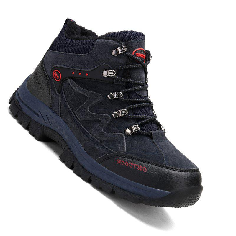 Men Casual New Trend for Fashion Suede Warm Outdoor Lace Up Rubber Big Plus Size Shoes - BLUE 40