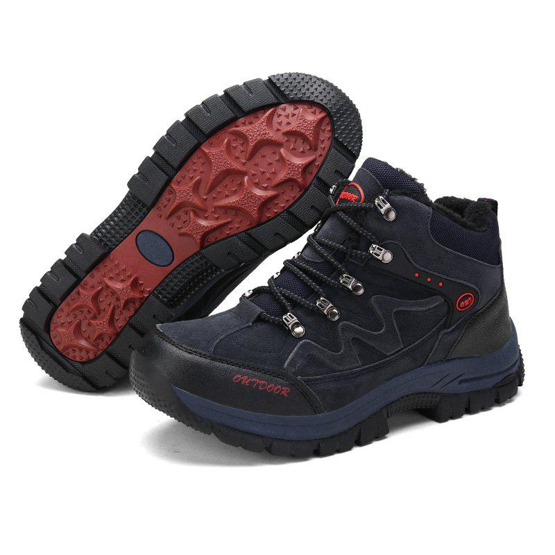 Men Casual New Trend for Fashion Suede Warm Outdoor Lace Up Rubber Big Plus Size Shoes - BLUE 46