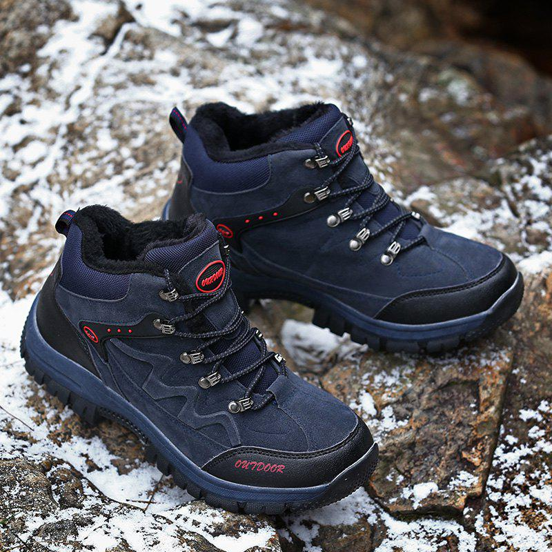 Men Casual New Trend for Fashion Suede Warm Outdoor Lace Up Rubber Big Plus Size Shoes - BLUE 41