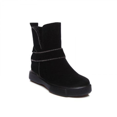 Casual Plush Head Flat Bottom Short Boots - BLACK 35