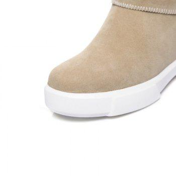 Casual Plush Head Flat Bottom Short Boots - APRICOT 37