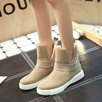 Casual Plush Head Flat Bottom Short Boots - APRICOT 38