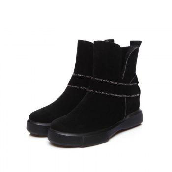 Casual Plush Head Flat Bottom Short Boots - BLACK BLACK