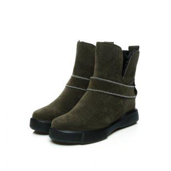 Casual Plush Head Flat Bottom Short Boots - ARMYGREEN ARMYGREEN