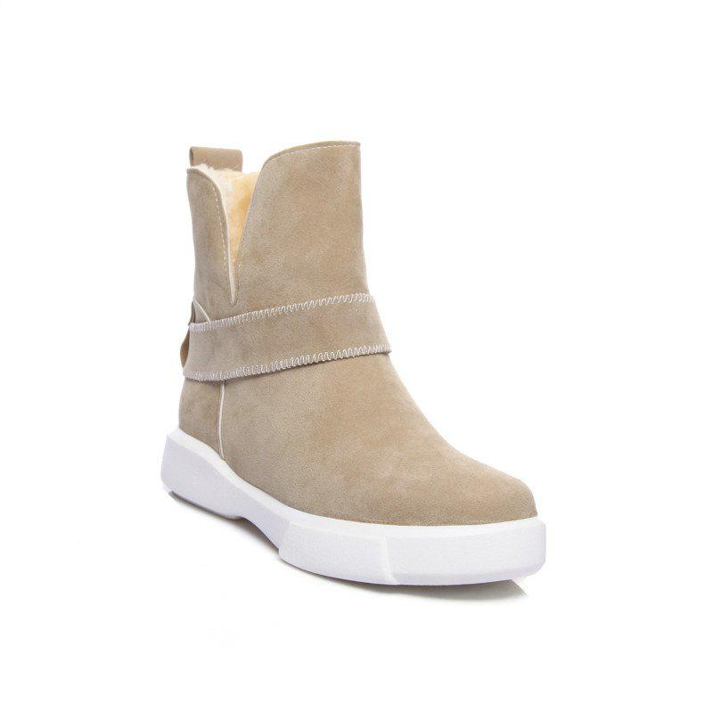 Casual Plush Head Flat Bottom Short Boots - APRICOT 36
