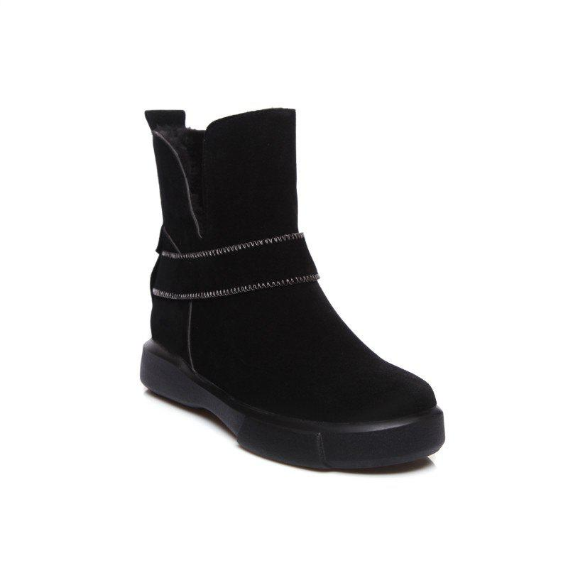 Casual Plush Head Flat Bottom Short Boots - BLACK 38
