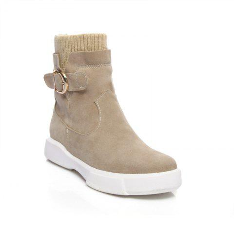 Worsted Flat Top Casual Boots - APRICOT 38