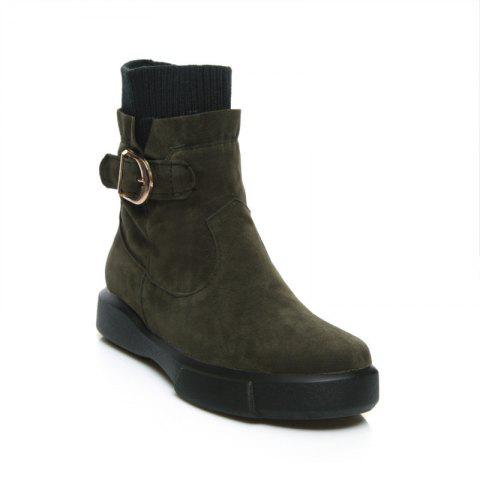 Worsted Flat Top Casual Boots - ARMYGREEN 35