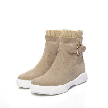 Worsted Flat Top Casual Boots - APRICOT APRICOT