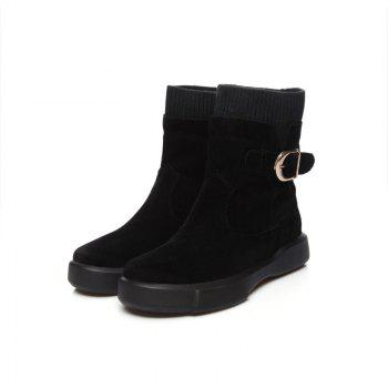 Worsted Flat Top Casual Boots - BLACK BLACK