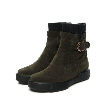 Worsted Flat Top Casual Boots - ARMYGREEN 42