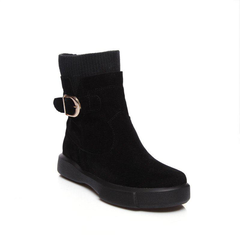 Worsted Flat Top Casual Boots - BLACK 35