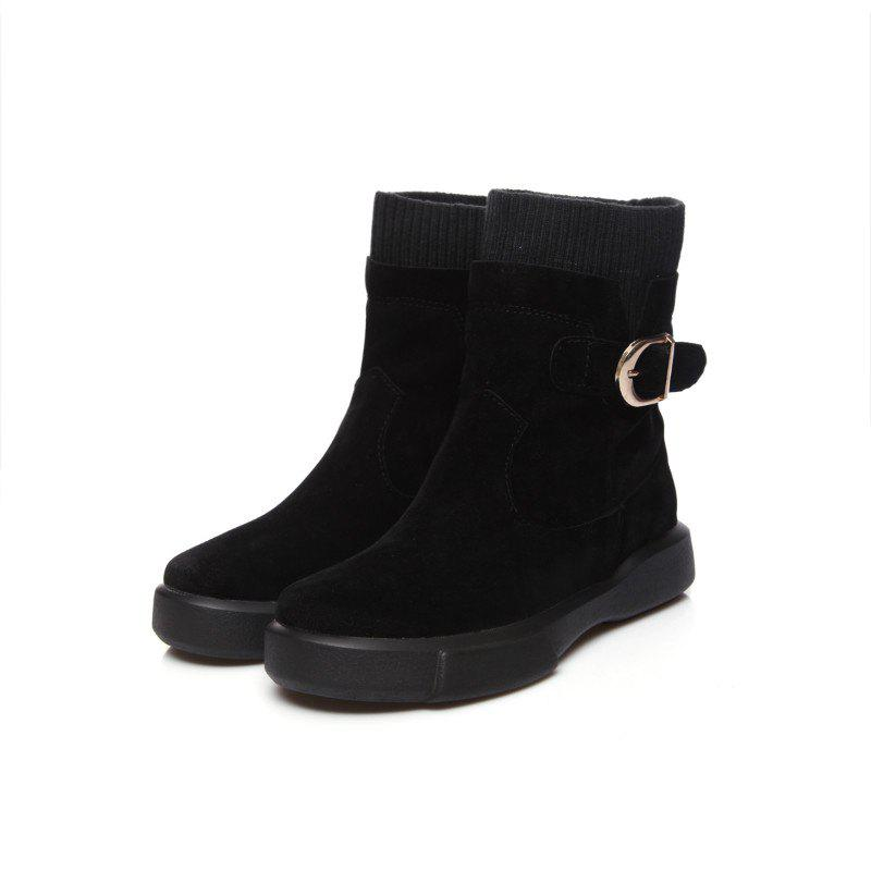 Worsted Flat Top Casual Boots - BLACK 40