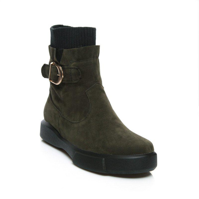 Worsted Flat Top Casual Boots - ARMYGREEN 41