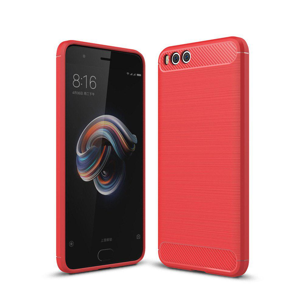 Shockproof Back Cover Solid Color Soft Carbon Fiber Case for Huawei Xiaomi Note 3 - RED
