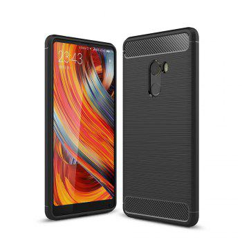 Shockproof Back Cover Solid Color Soft Carbon Fiber Case for Xiaomi Mix 2 - BLACK BLACK
