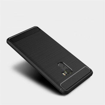 Shockproof Back Cover Solid Color Soft Carbon Fiber Case for Xiaomi Mix 2 -  BLACK