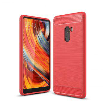 Shockproof Back Cover Solid Color Soft Carbon Fiber Case for Xiaomi Mix 2 - RED RED