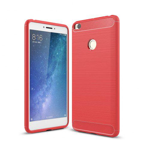 Shockproof Back Cover Solid Color Soft Carbon Fiber Case for Xiaomi Max 2 - RED