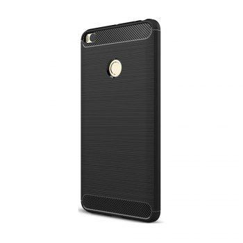 Shockproof Back Cover Solid Color Soft Carbon Fiber Case for Xiaomi Max 2 - BLACK