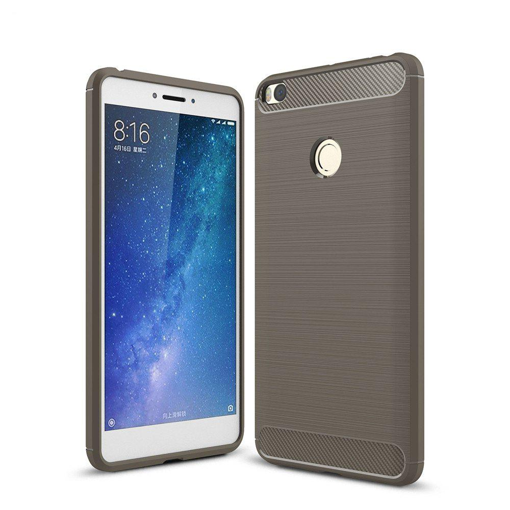 Shockproof Back Cover Solid Color Soft Carbon Fiber Case for Xiaomi Max 2 - GRAY