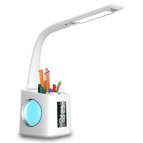 10W 2A Dimmable LED Desk Lamp with USB Charging Port Pen Holder Temperature Calendar Clock AC 220V - WHITE