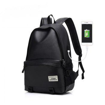 AUGUR Men Backpacks PU Leather USB Charging Travel Waterproof  Laptop Teenager Student School Bag