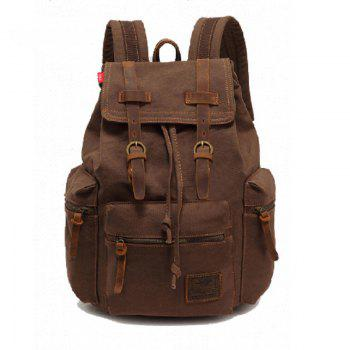 AUGUR Fashion Men Backpack Vintage Canvas School Bag Travel Large Capacity - COFFEE COFFEE