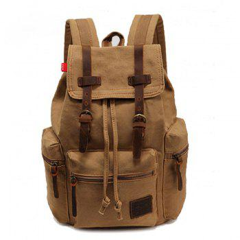 AUGUR Fashion Men Backpack Vintage Canvas School Bag Travel Large Capacity - KHAKI KHAKI