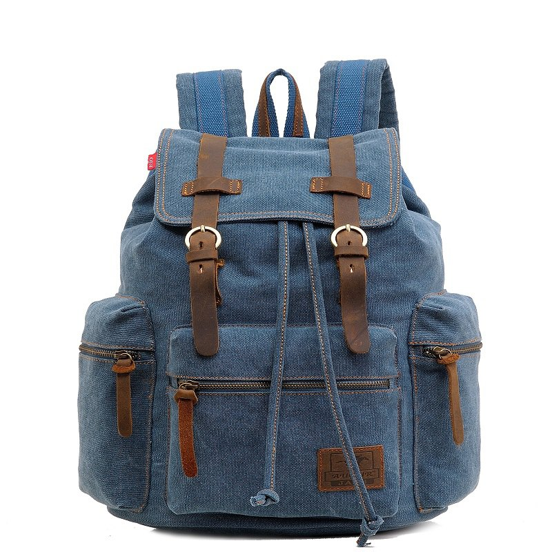 AUGUR Fashion Men Backpack Vintage Canvas School Bag Travel Large Capacity - GLACIAL BLUE ICE
