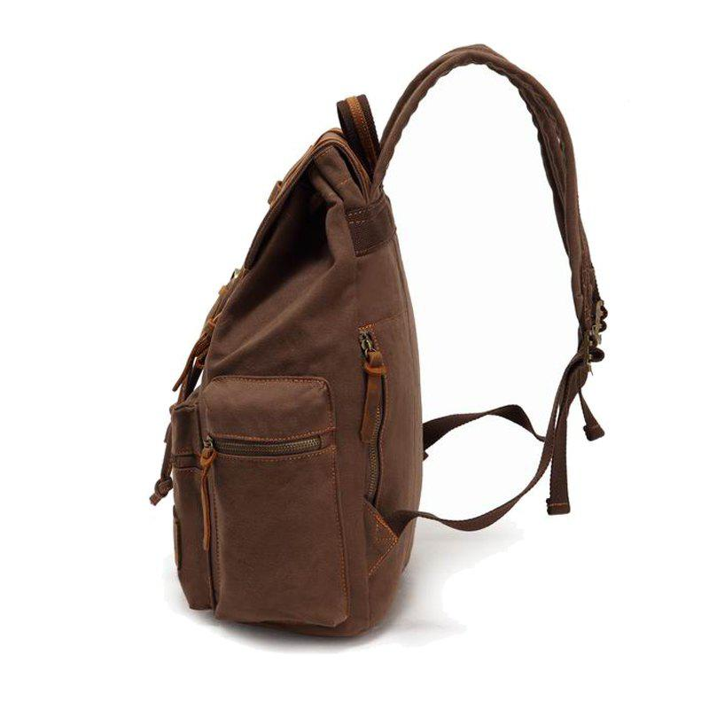 AUGUR Fashion Men Backpack Vintage Canvas School Bag Travel Large Capacity - COFFEE