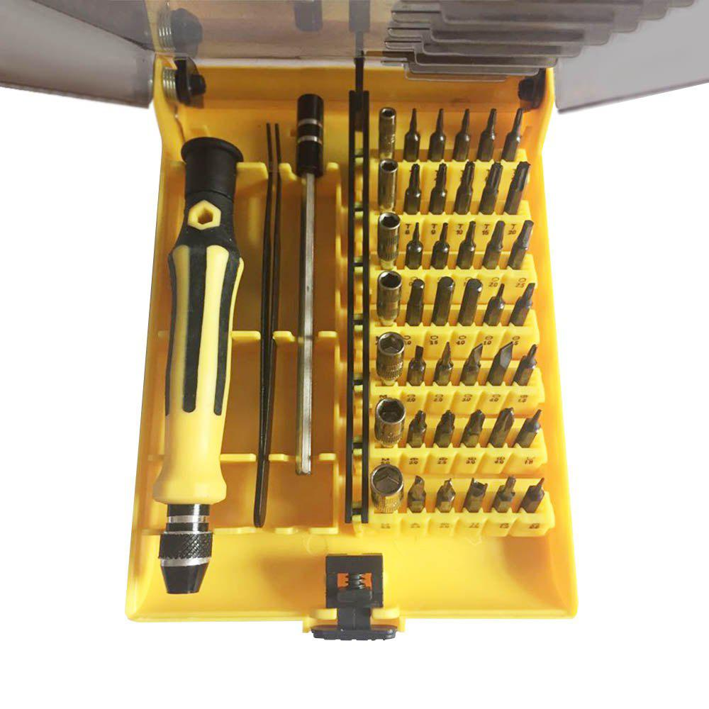 Flat Panel Watch Computer Mobile Phone 45 in One Maintenance Tool - YELLOW