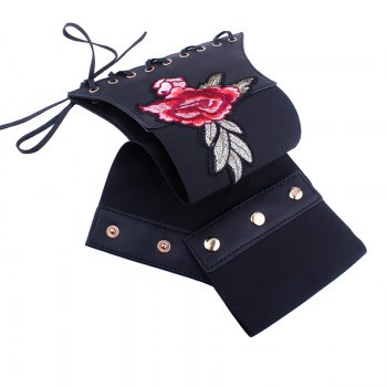 Vintage Embroidered Women Rose Sexy Slim Waist Tie-up Paper Tapes - BLACK