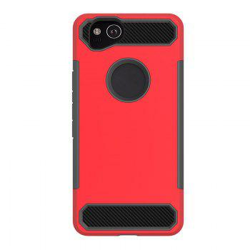 Anti-slip Heavy-duty Carbon Fiber Case Cover for Google Pixel 2 - RED RED