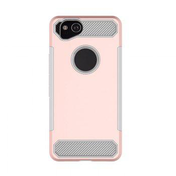 Anti-slip Heavy-duty Carbon Fiber Case Cover for Google Pixel 2 - PINK PINK