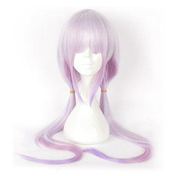 Anime Pink Color Long Straight Synthetic Hair Cosplay Wig - PURPLE PURPLE