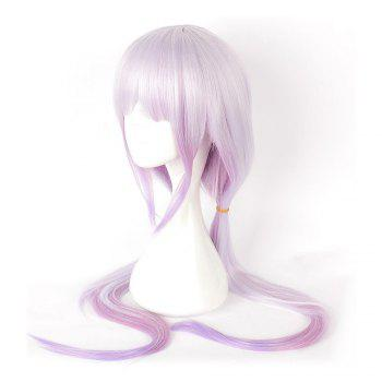 Anime Pink Color Long Straight Synthetic Hair Cosplay Wig - PURPLE