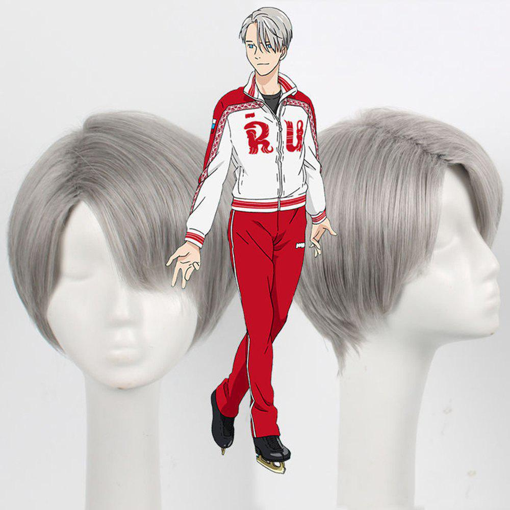 Short Synthetic Hair Gray Color Amine Cosplay Wigs For Men - GRAY