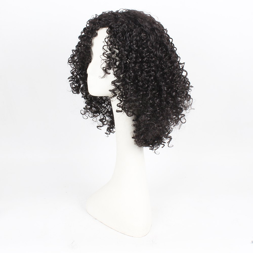 Curly Hair Synthetic Wigs for Women Jet Black Color High Temperature Fiber - BLACK