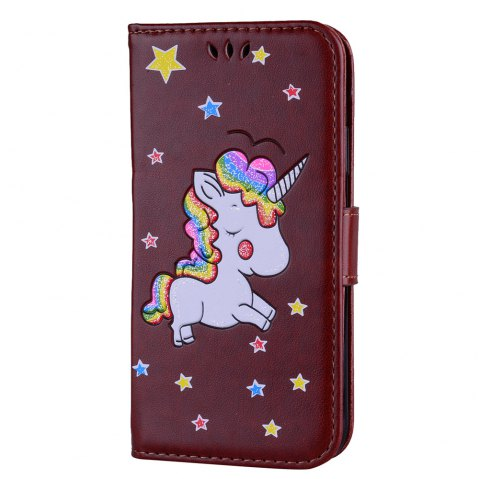 Unicorn Wallet Cell Phone Set for iPhone X - BROWN