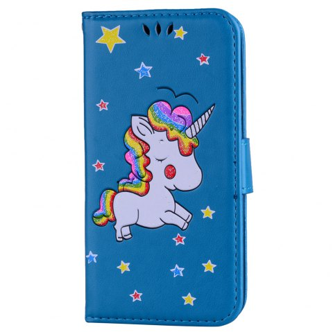 Unicorn Wallet Cell Phone Set for iPhone X - BLUE
