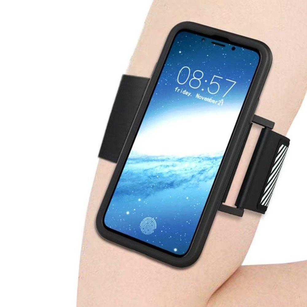 Multi-functional Mobile Phone Case Cover with Sports Arm Belt for Iphone X - BLACK