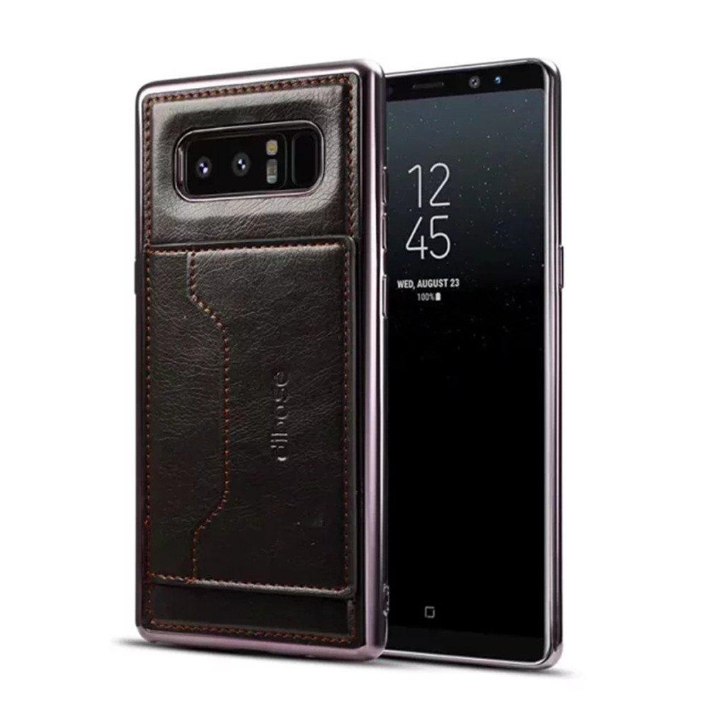 For Samsung Galaxy Note 8 Case  Card Holder with Stand Back Cover Solid Color Hard PU Leather - BLACK