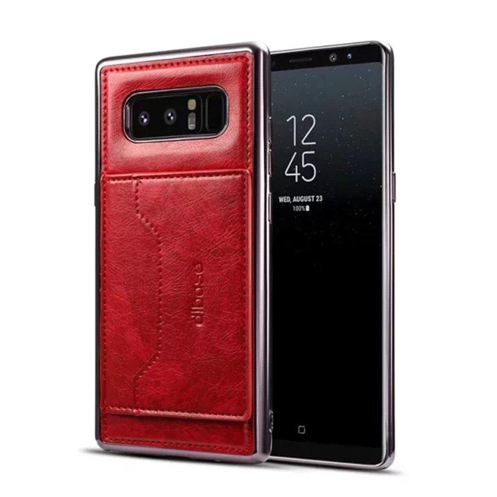 For Samsung Galaxy Note 8 Case  Card Holder with Stand Back Cover Solid Color Hard PU Leather - RED
