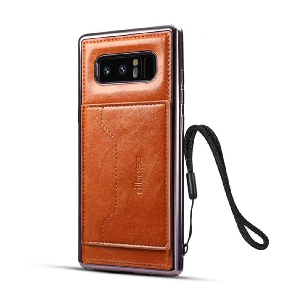 For Samsung Galaxy Note 8 Case  Card Holder with Stand Back Cover Solid Color Hard PU Leather - ORANGE