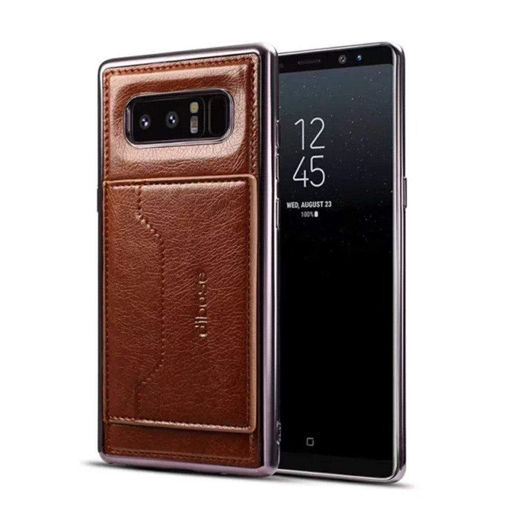 For Samsung Galaxy Note 8 Case  Card Holder with Stand Back Cover Solid Color Hard PU Leather - BROWN