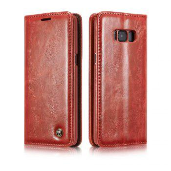 For Samsung Galaxy S8 Plus Cover Luxury Genuine Leather Plating Magnetic Flip Phone Case - RED