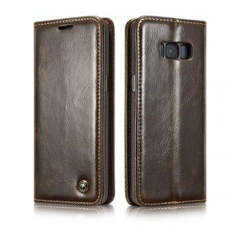 For Samsung Galaxy S8 Plus Cover Luxury Genuine Leather Plating Magnetic Flip Phone Case - BROWN