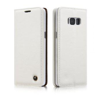 For Samsung Galaxy S8 Plus Cover Luxury Genuine Leather Plating Magnetic Flip Phone Case - WHITE