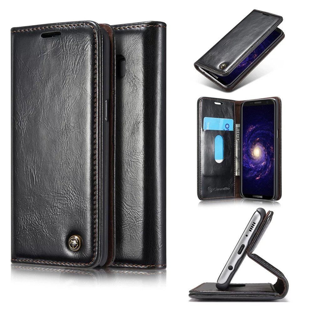 For Samsung Galaxy S8 Plus Cover Luxury Genuine Leather Plating Magnetic Flip Phone Case - BLACK